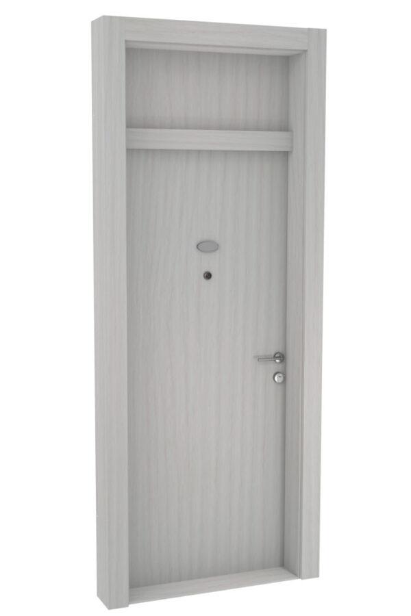 Protivlomna lesena vrata z nadsvetlobo beli bor