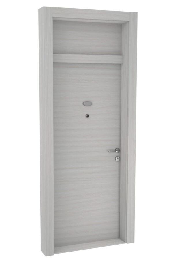 Protivlomna lesena vrata z nadsvetlobo beli bor prečna