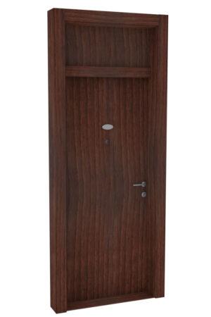 Protivlomna lesena vrata z nadsvetlobo čoko